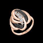 Damenring mit schwarzen und weißen Zirkonia