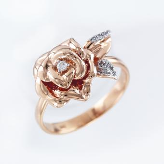 Damenring Rose mit Brillanten