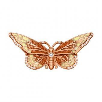 Brosche Schmetterling mit Zirkonia und Emaille