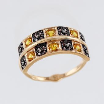 Кольцо с коричневыми и желтыми фианитами